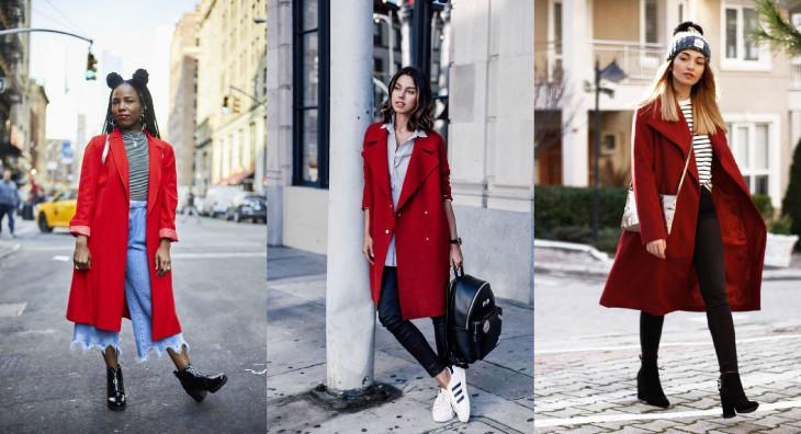 с какими аксессуарами сочетать красное пальто