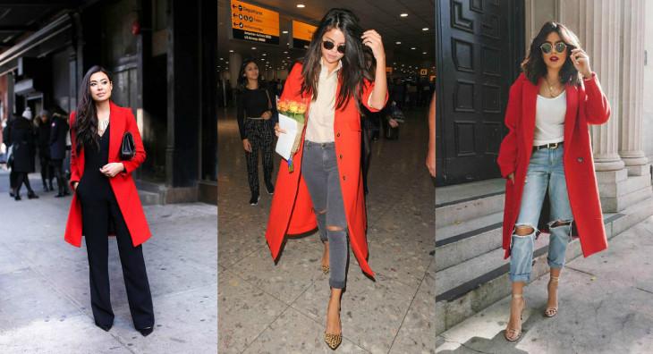 мода осень 2018 красное пальто