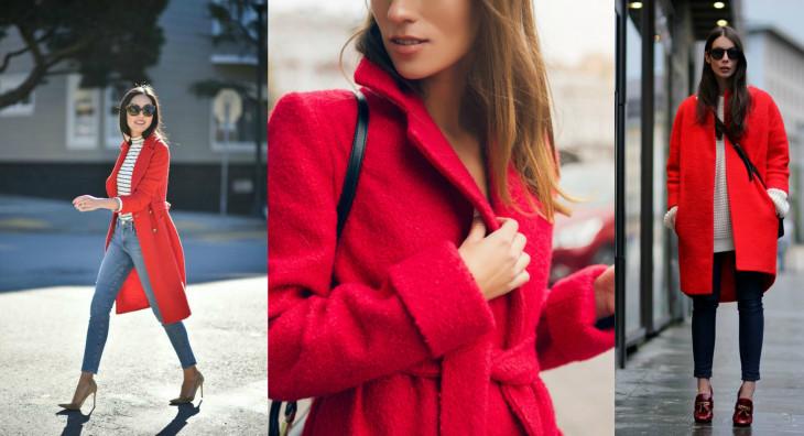 как носить красное пальто