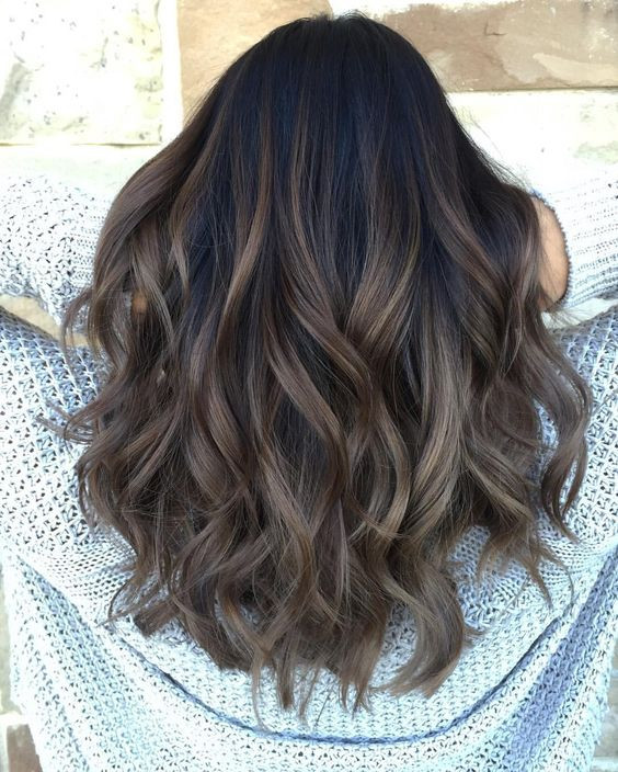 мелирование каштановых волос фото