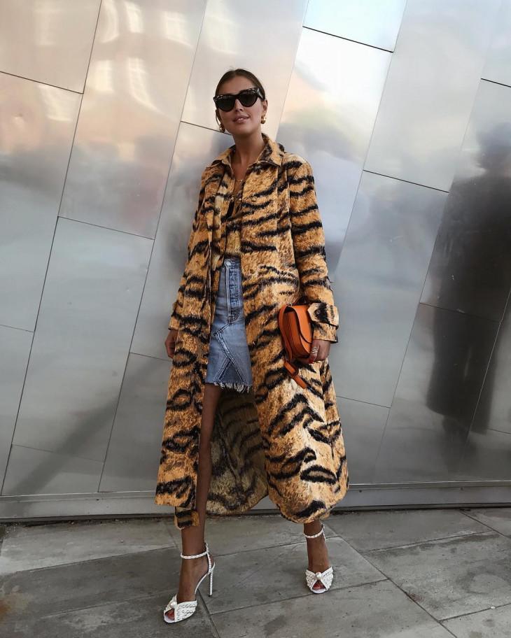 модное пальто на осень 2018 - принт тигровый