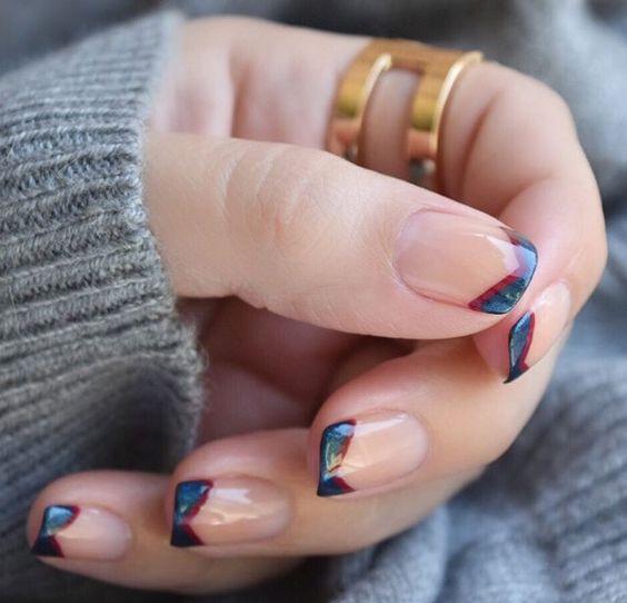 френч на короткие ногти 2018