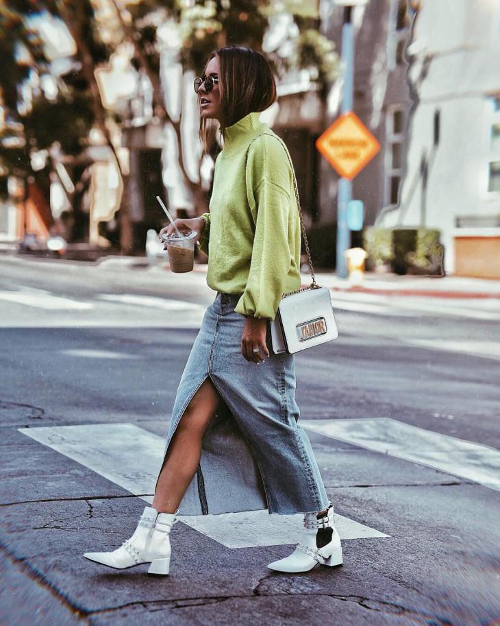 модный лук осень 2018 - белые ботильоны