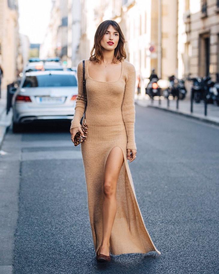 модный лук осень 2018 - вязаное платье