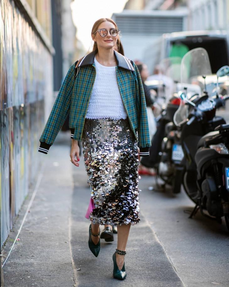 модный лук осень 2018 - пайетки