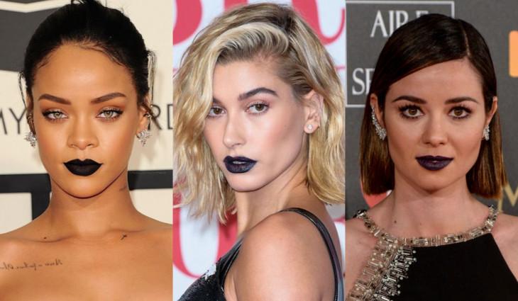 черная губная помада - модный тренд 2018