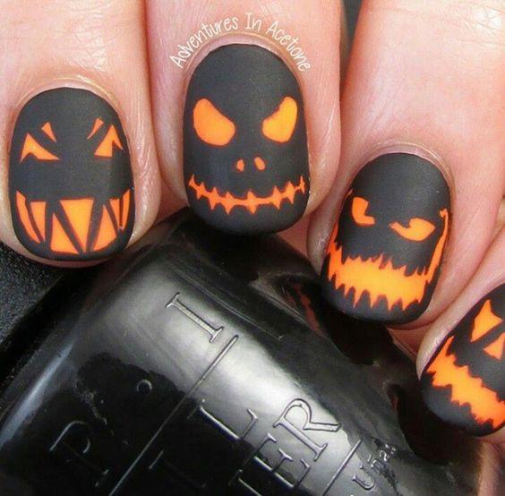 маникюр хэллоуин - тыквы