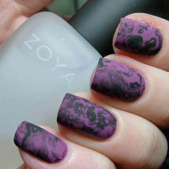 маникюр хэллоуин - фиолетовый лак
