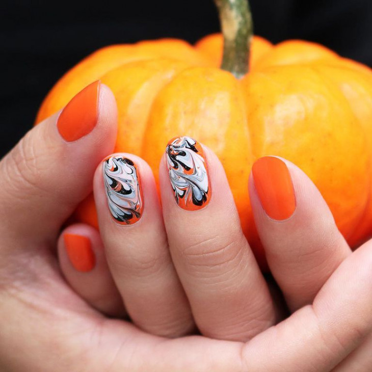 маникюр на хэллоуин - тыква