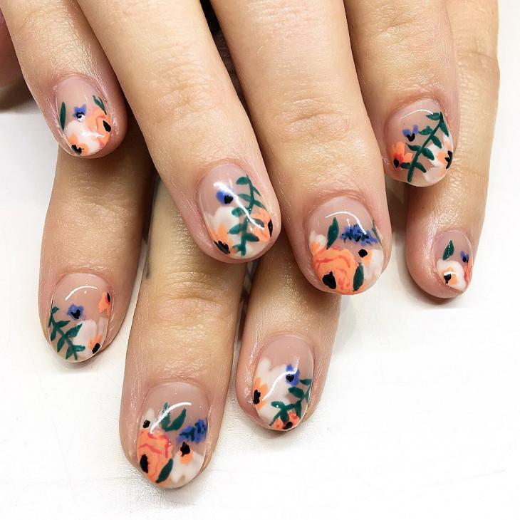 маникюр на короткие ногти цветочный узор