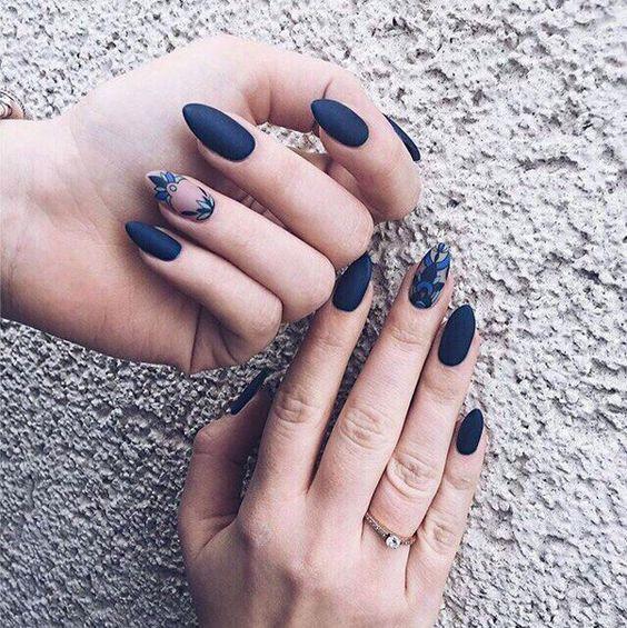дизайн ногтей балерина синий