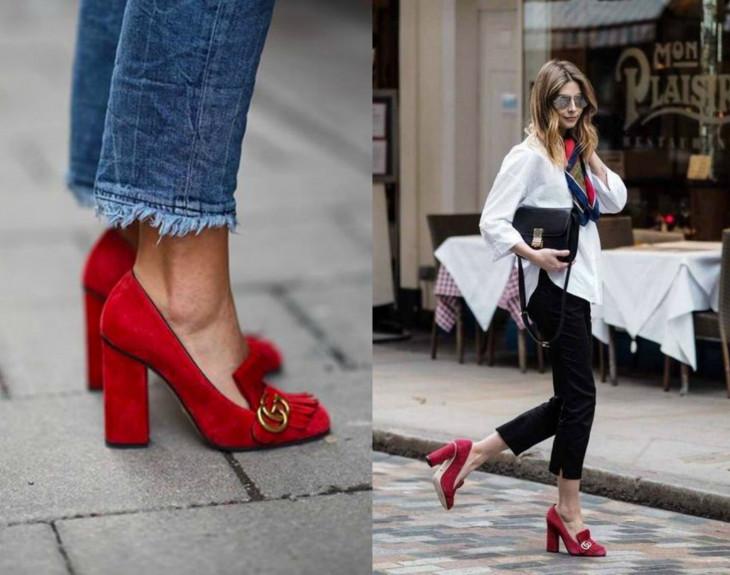 Красные туфли Gucci