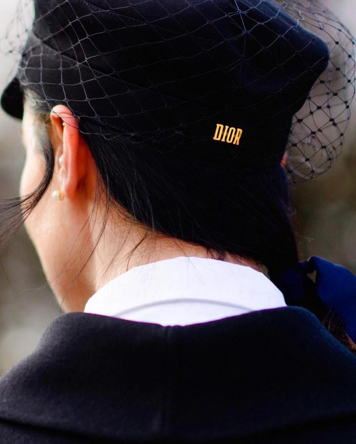 модные шапки 2018 - ньюбой с вуалью
