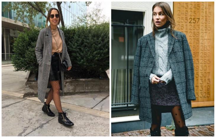 С чем носить оверсайз пальто: юбка