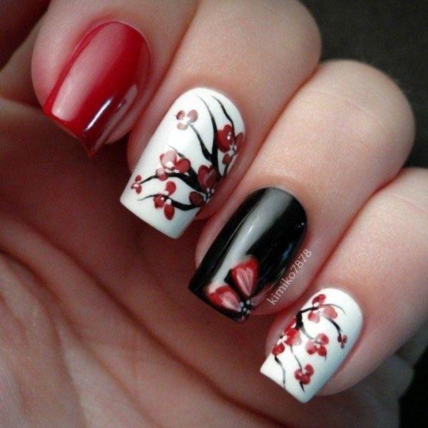 Красный маникюр: рисунок на красных ногтях