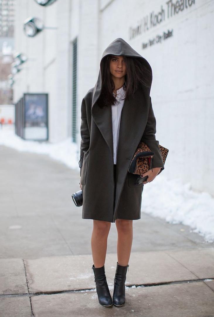 Оверсайз пальто с капюшоном
