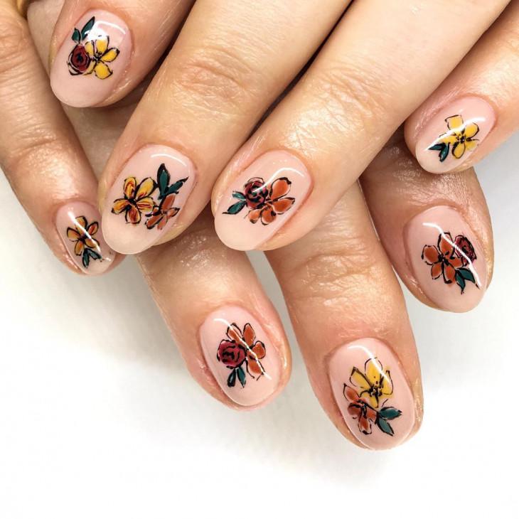 оранжевые ногти на осень