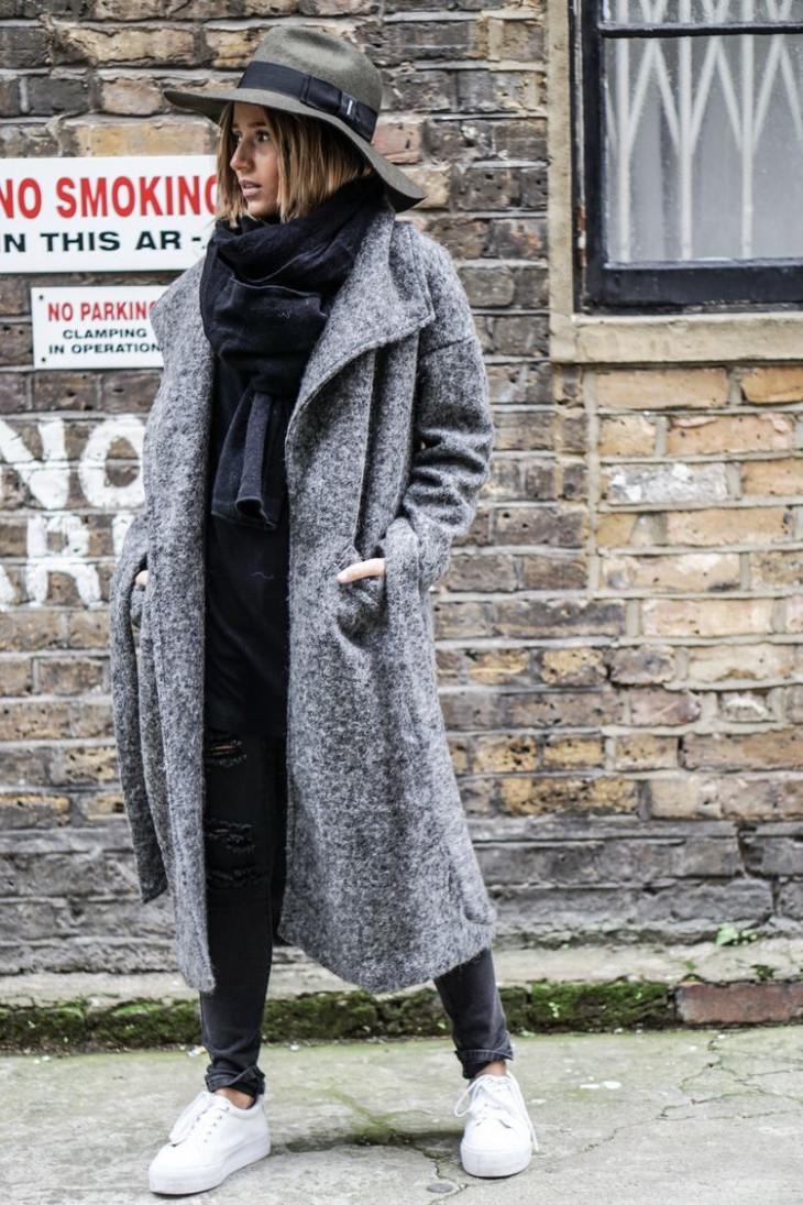 Модное оверсайз пальто 2018: шляпа