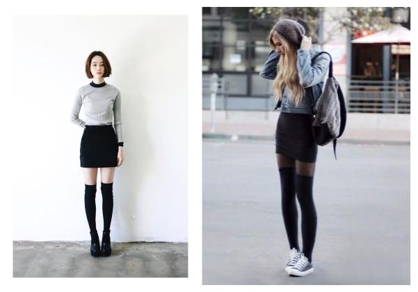 Гольфы выше колена: в чем носить