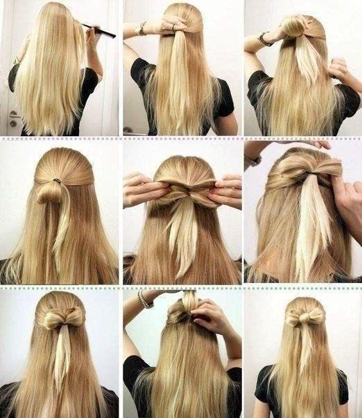 бант на длинны волосах