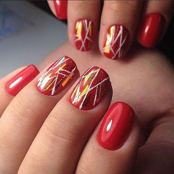 дизайн ногтей битое стекло в цвете коралл