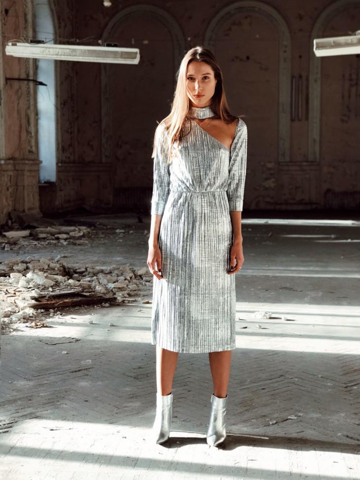 Серебристое платье от JULIA GURSKAJA