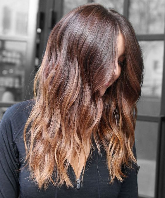 балаяж на каштановый цвет волос