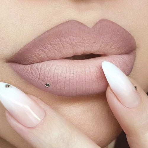 нюдовый макияж губ омбре
