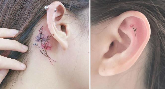 Микро-татуировки за ухом