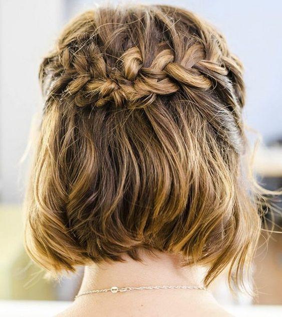 Французская коса вокруг головы для коротких волос