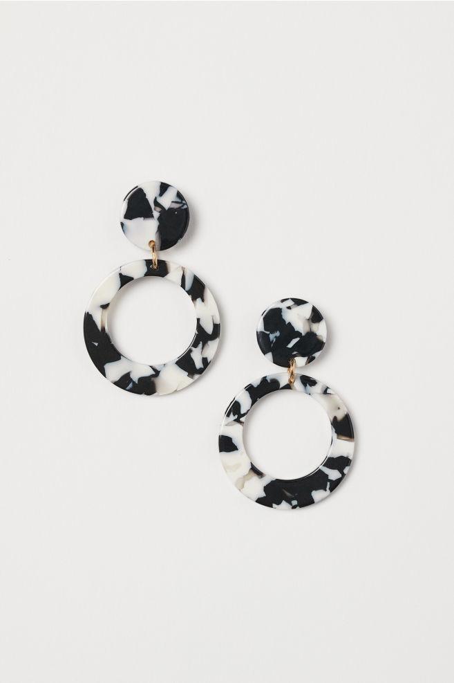 Круглые серьги с черно-белым леопардовым узоромH&M
