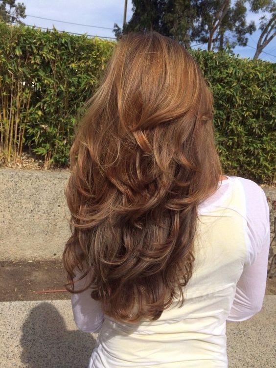 Модная стрижка каскад на длинные волосы 2019