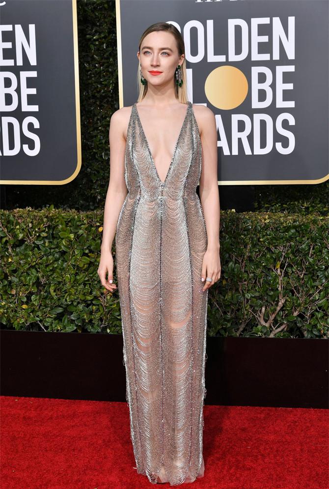 Сирша Ронан в приталенном платье Gucci