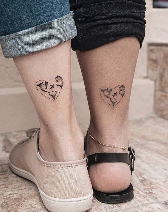 Парные тату на ноге