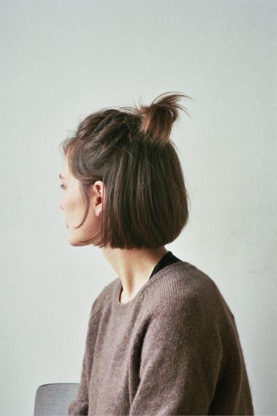 Пучок топ кнот на короткие волосы