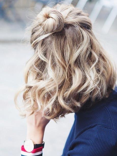Пучок топ кнот на волнистые волосы