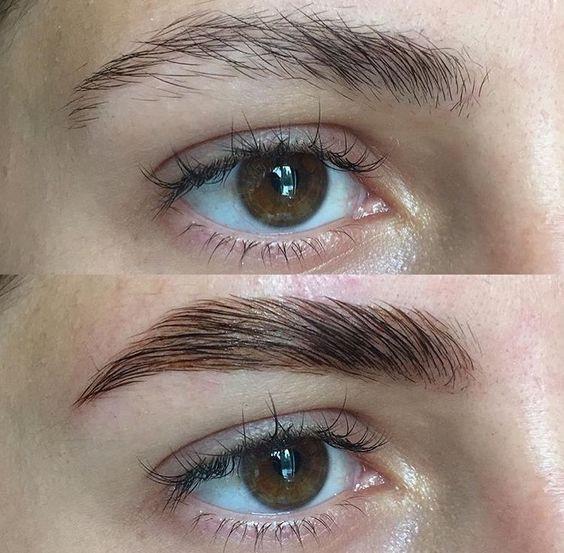 Процедура долговременной укладки бровей: до и после