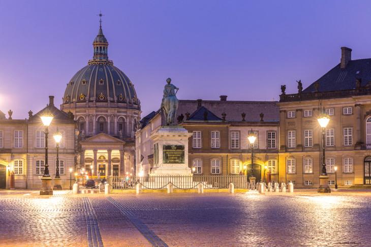Романтический вид на площадь в Копенгагене