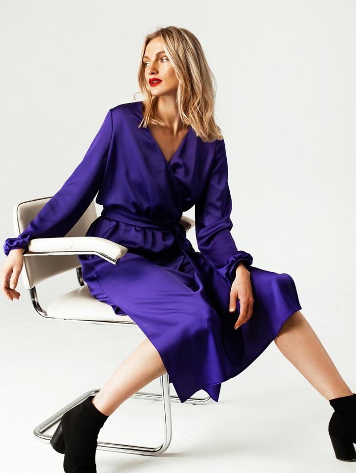 Фиолетовое шелковое платье-миди с поясом Мarsees