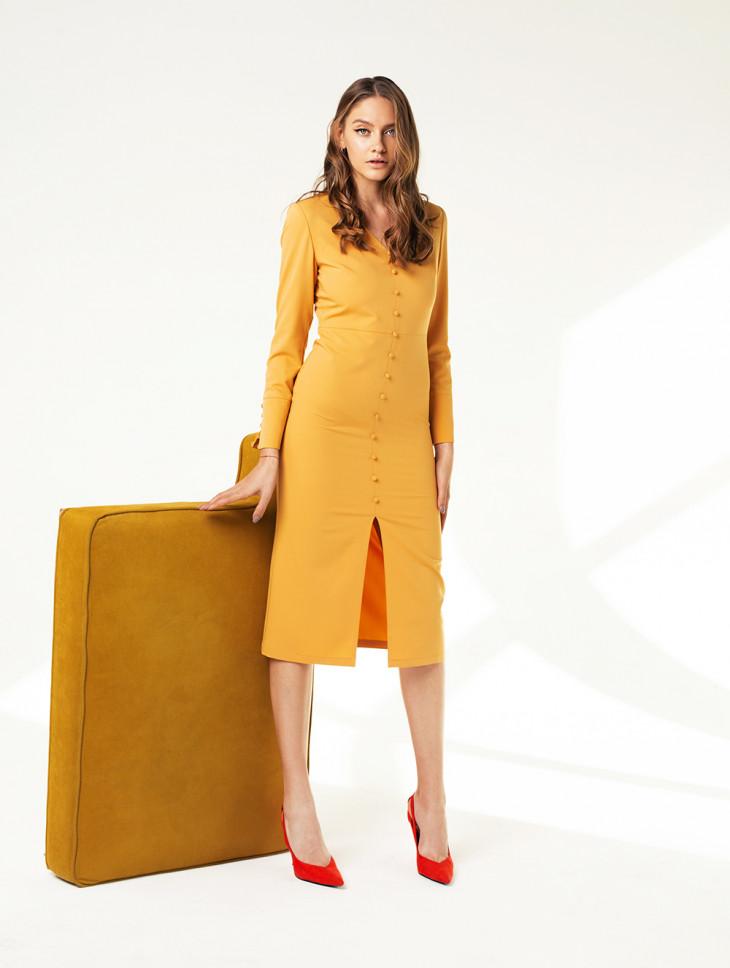 Желтое платье-футляр Мarsees