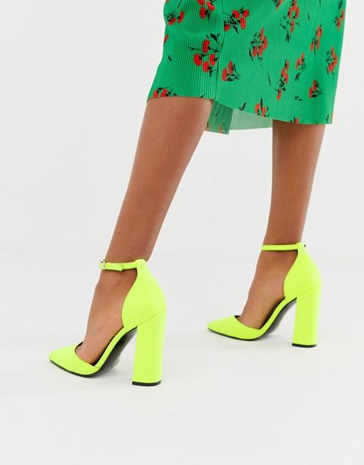 Неоново-желтые туфли с острым носком на высоком каблуке ASOS DESIGN