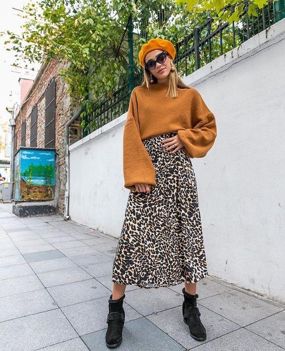 Стильный образ с леопардовой юбкой