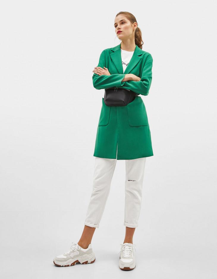 пальто зеленое бершка