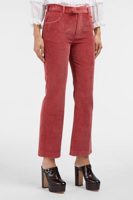 Коралловые вельветовые брюки с каблуками