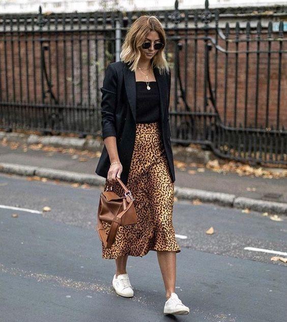 Готовый образ с леопардовой юбкой