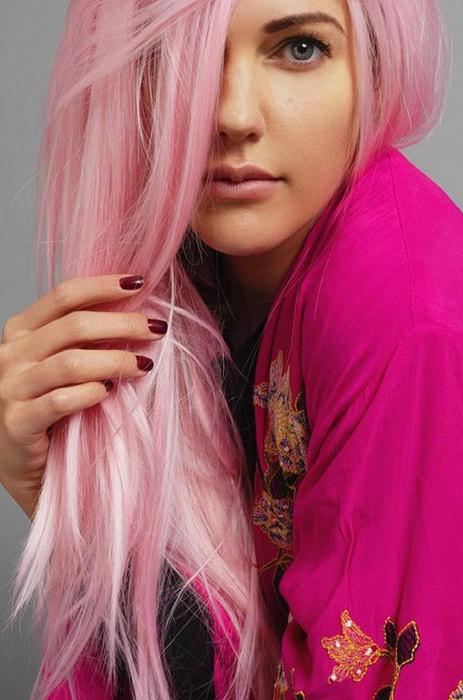 окрашивание волос розовый блонд