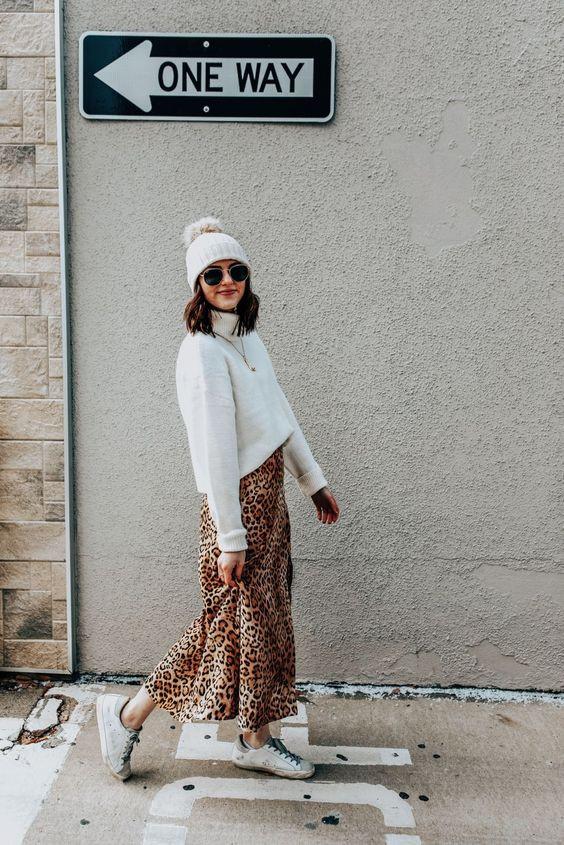 Леопардовая юбка образ