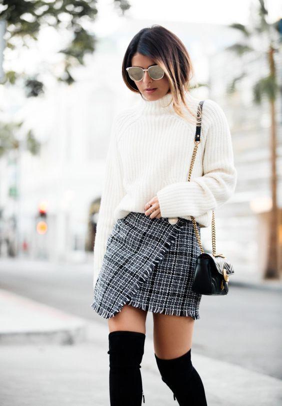 Ассиметричная твидовая юбка