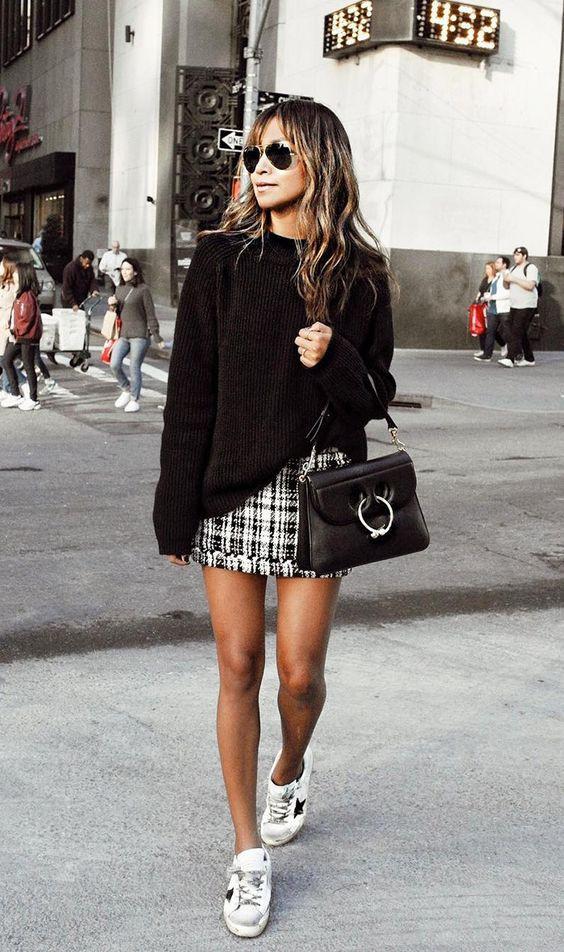 Стильные образы с модной твидовой юбкой