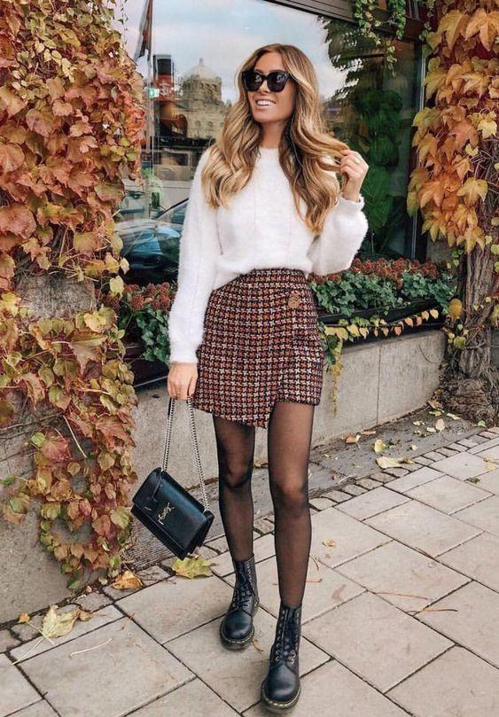 Модная твидовая юбка 2019